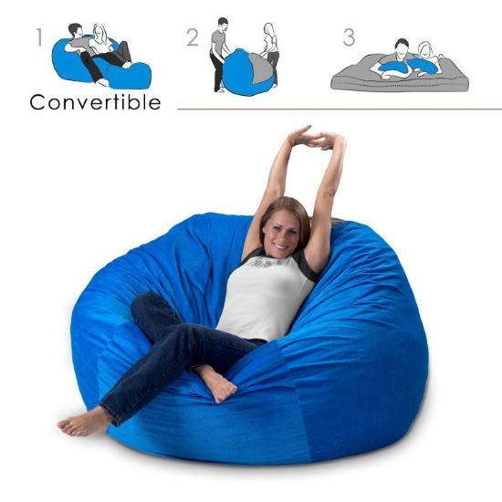 Bean Bag Chair Bed - Converts to queen size mattress.