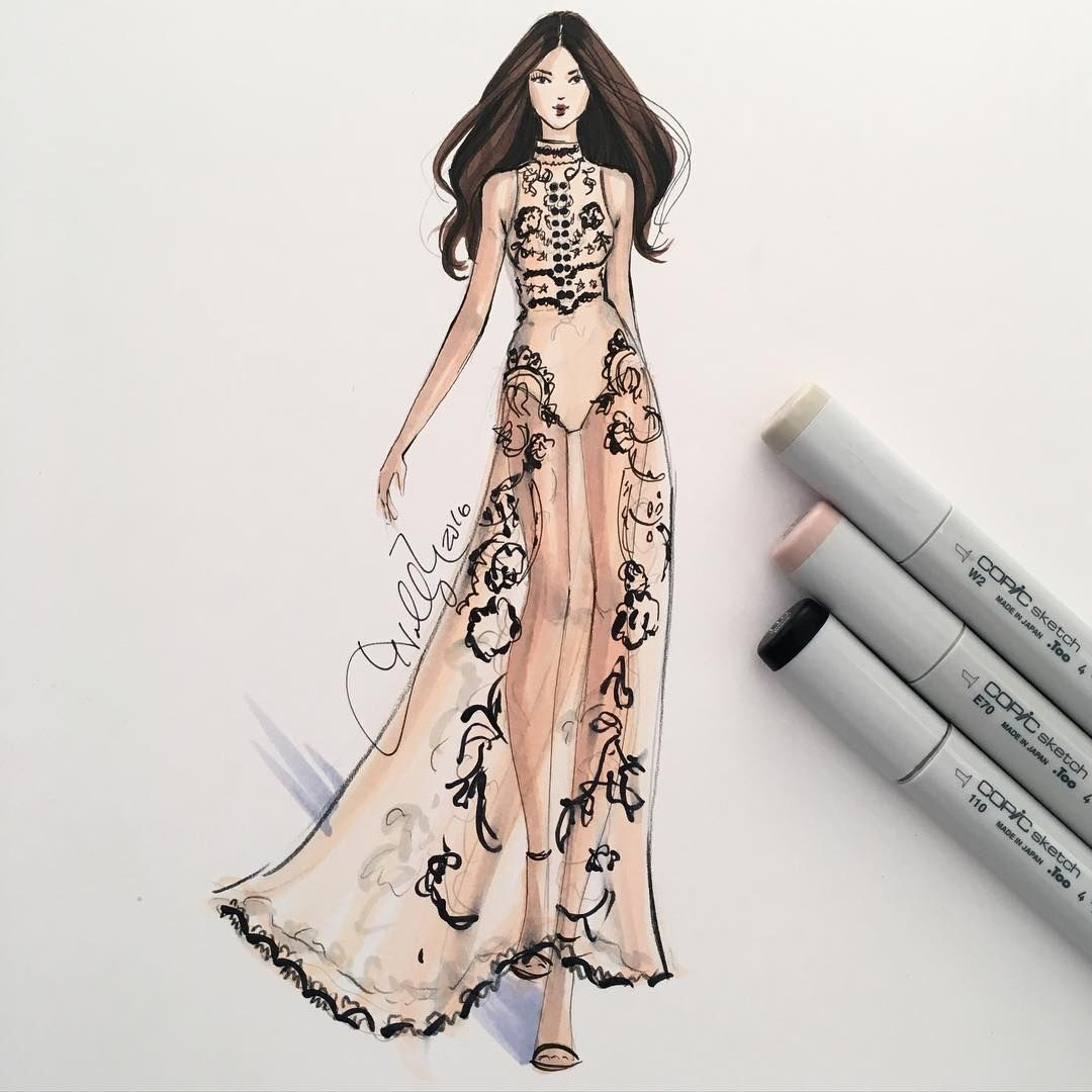 A perf illustration from holly nichols shop dresses now