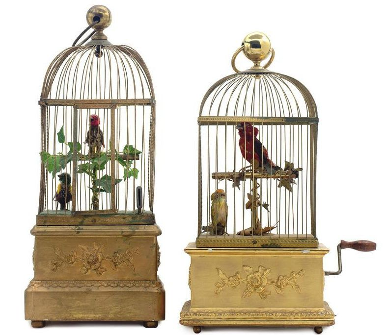 Bright yellow repainted vintage dome  bird cage
