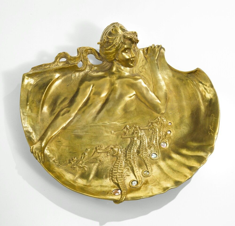 Georges Flamand WALL PLAQUE signed G. Flamand gilt bronze and mother ...