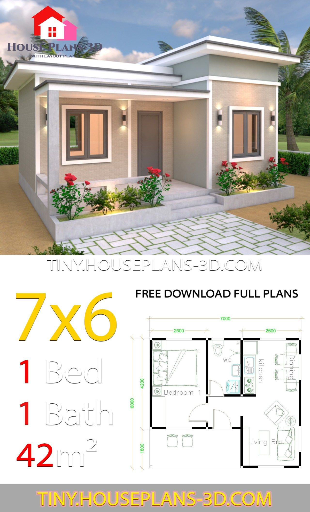 Tiny House Plans 7x6 With One Bedroom Flat Roof Tiny House Plans Flat Roof House One Bedroom House Plans Sims House Plans