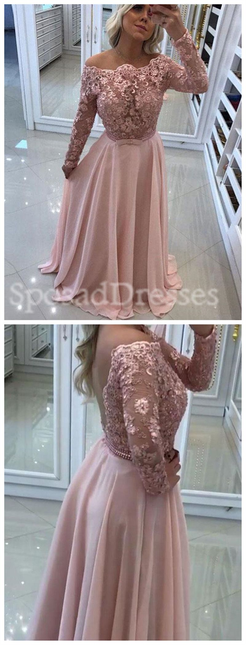 see through off shoulder lace beaded backless long sleeve blush