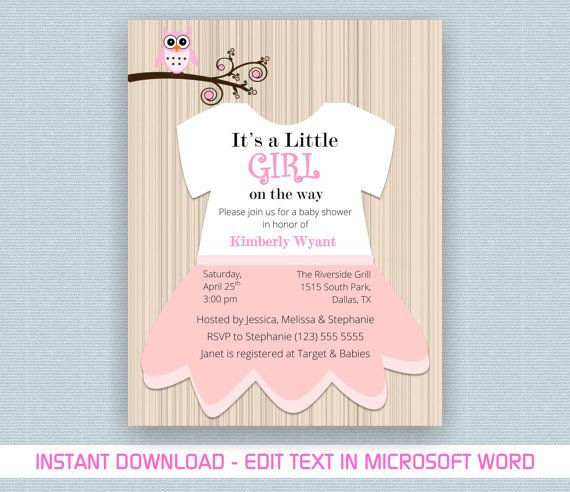 printable baby girl shower invite template for by myprintstudio