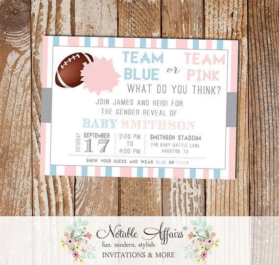 Team Blue or Pink Gender Reveal Football Invitation Light Pink vs Light Blue pom pom football - pink or blue gender reveal invitation by NotableAffairs http://dlvr.it/NCFPNv