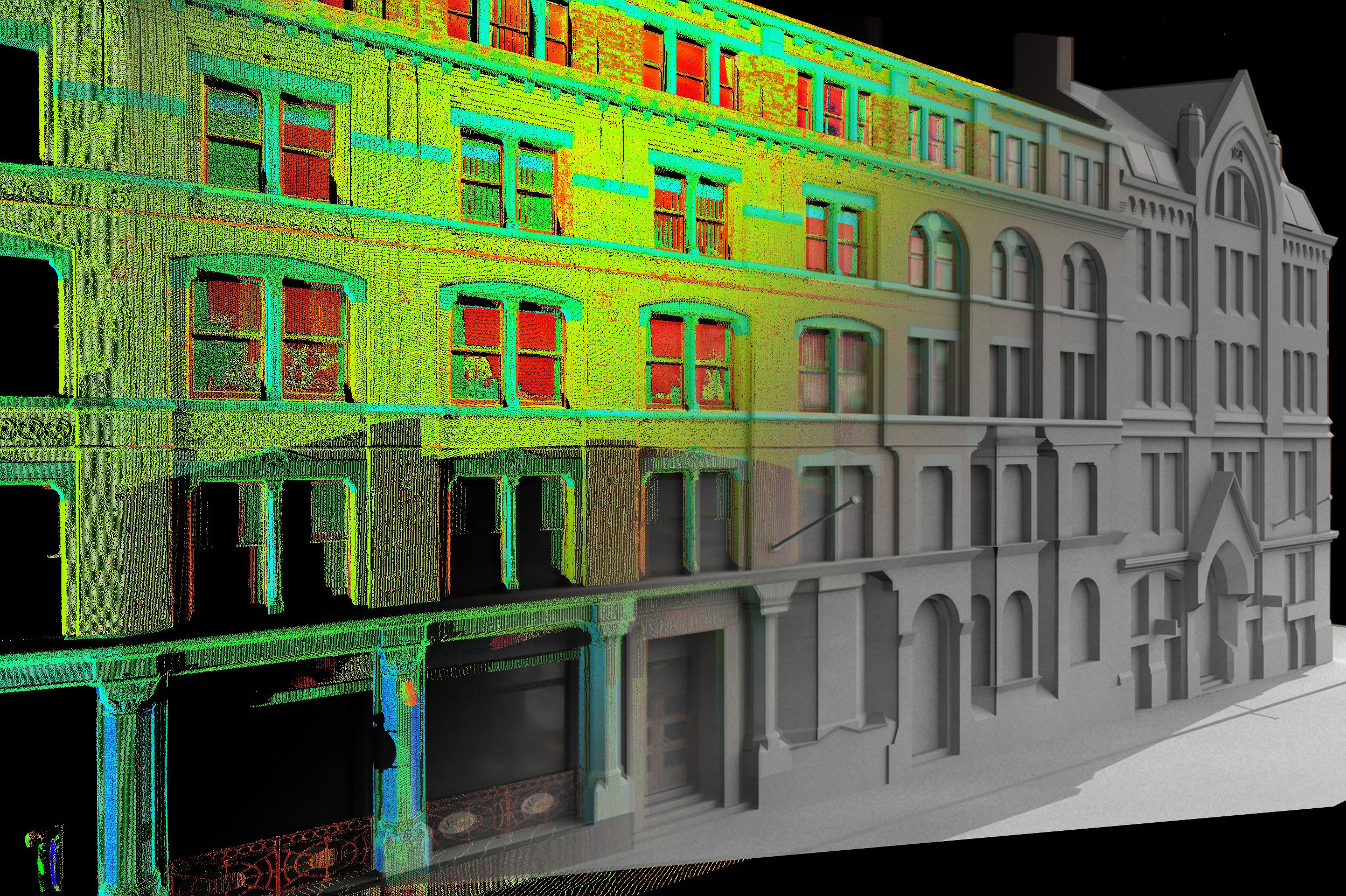 Creating 3D model of building facade from 3D laserr scanning