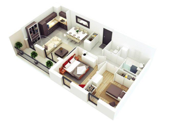 Planos de departamentos de dos dormitorios selecci n de for Disenos de departamentos pequenos