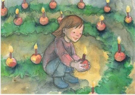 December ~ Advent ~ Evergreen Spiral ~ postcard