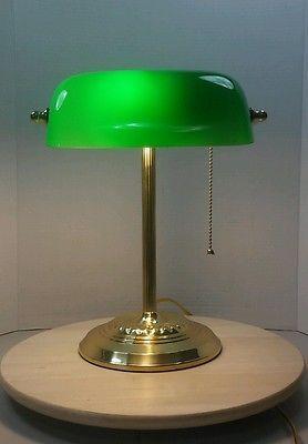 Vintage Green Glass Brass Bankers Lamp Round Base Adjustable Shade Desk Piano Lamp Vintage Green Glass Bankers Lamp