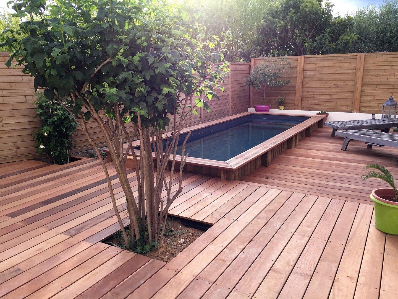 Tour d\'une piscine bois en bois exotique Itauba sur structure ...
