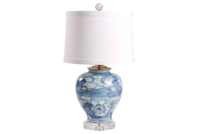 "23.5"" Ming Jar Table Lamp, Blue"