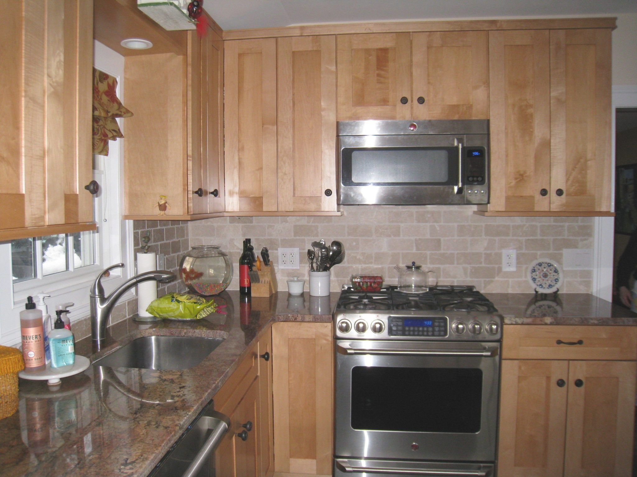 Stove Cabinet Ideas Google Search Kitchen Ideas Pinterest Inside Maple Kitchen Cabinets Kitchen Cabinets And Backsplash Backsplash Kitchen White Cabinets