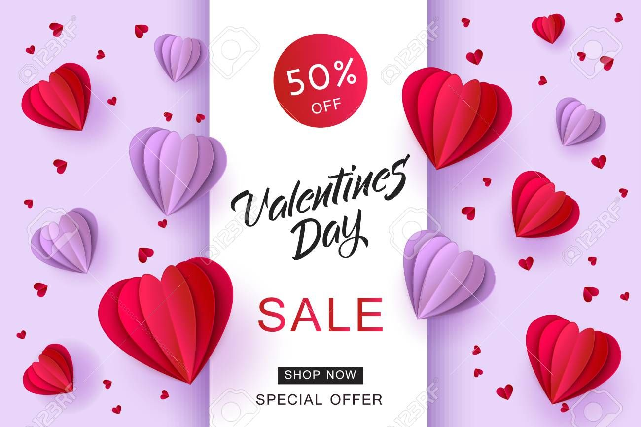 Vector Valentines Day Sale Card Template With Origami Paper Hot Air Balloons In Heart Shape Background Holiday Illust Free Flyer Templates Card Template Flyer