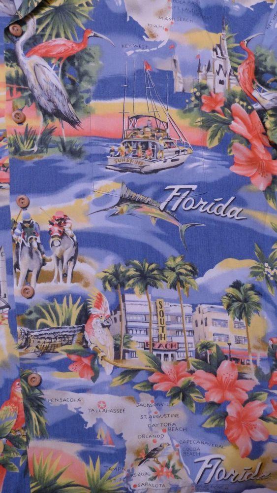 If you're missing the state of #Florida this vintage men's Hawaiian shirt from Paradise Found will remind you of favorite sites and sounds!