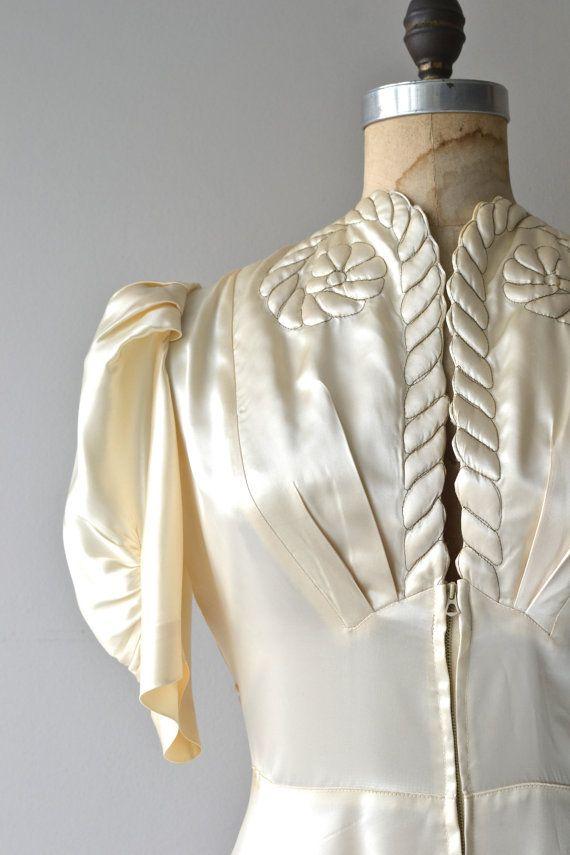 Aries wedding gown vintage 1940s dress satin 40s by DearGolden