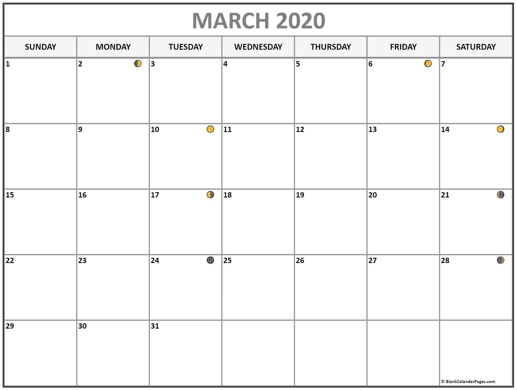 Moon Calendar March 2020 Full New Moon In 2020 Lunar