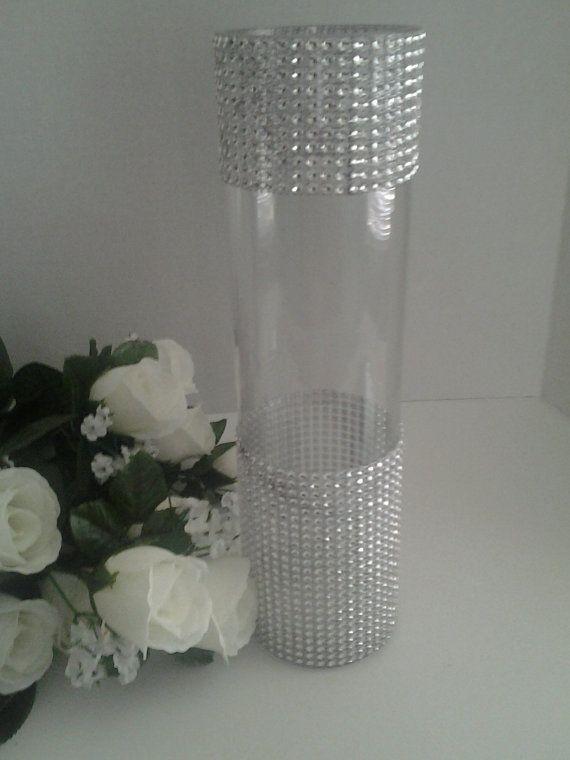 9 tall Cylinder  Rhinestone Vase  Bouquet Vases Centerpiece bling wedding vases Rhinestone Vases Wedding Bouquet Vase Set of 10