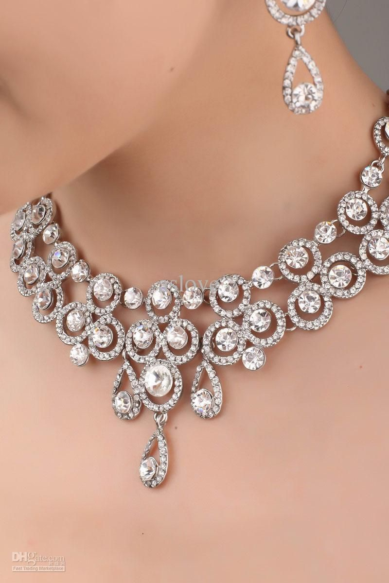 Designer crystal necklace earrings bridal jewelry set j834 2 designer crystal necklace earrings bridal jewelry set j834 2 wedding jewellery set arubaitofo Gallery