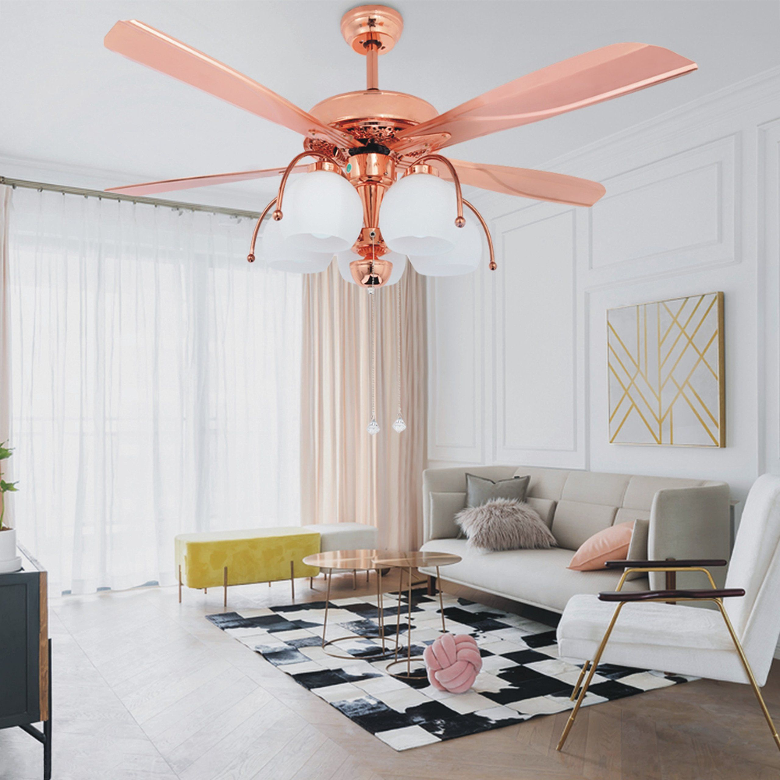 Tropicalfan 48 Inch Metal Ceiling Fan With 5 Glass Light Cover 5 Reversible Blades Home Decoration Living Room Ceiling Fan Bedroom Rose Gold Bedroom Home Decor