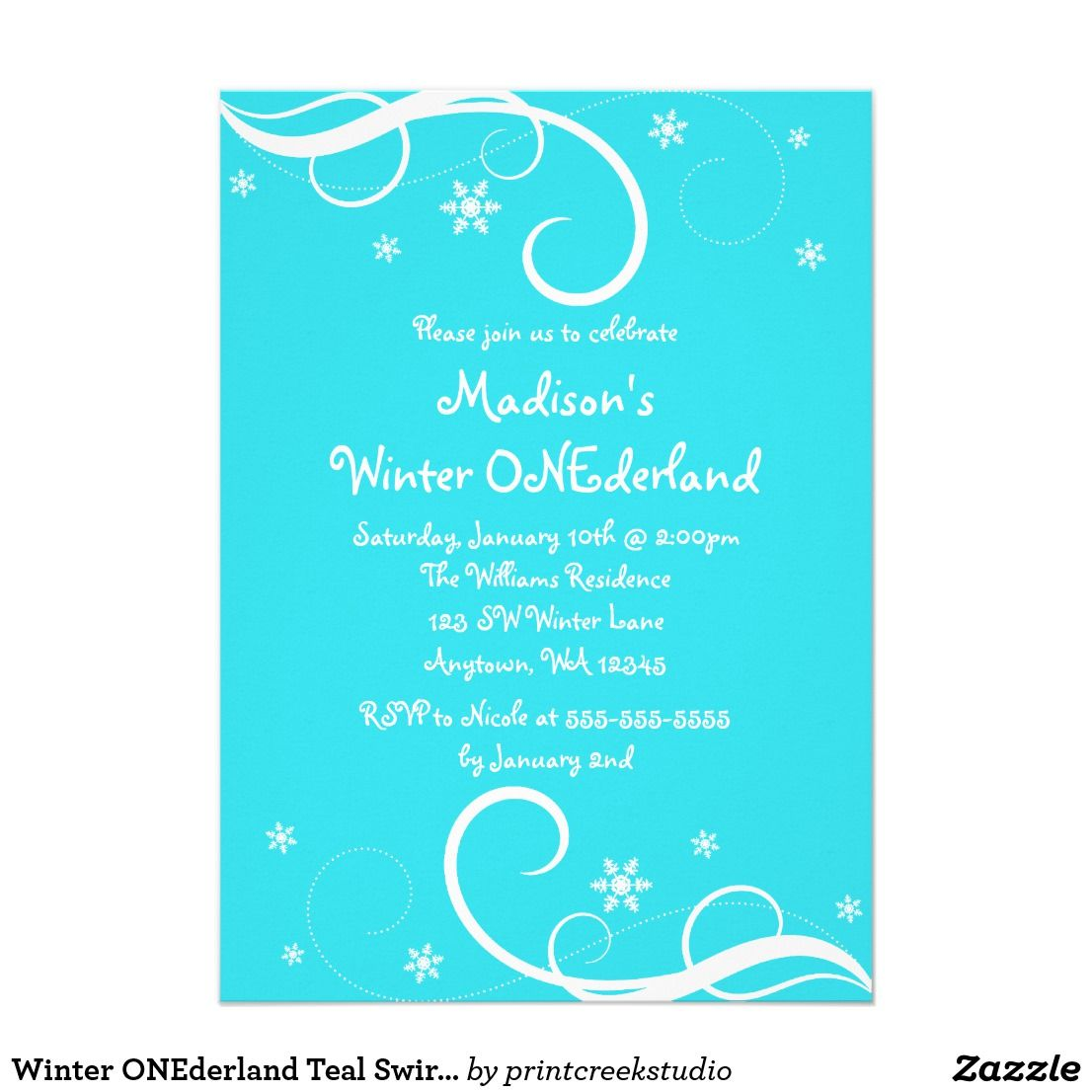 Winter ONEderland Teal Swirl Snowflakes Card A cute winter ...