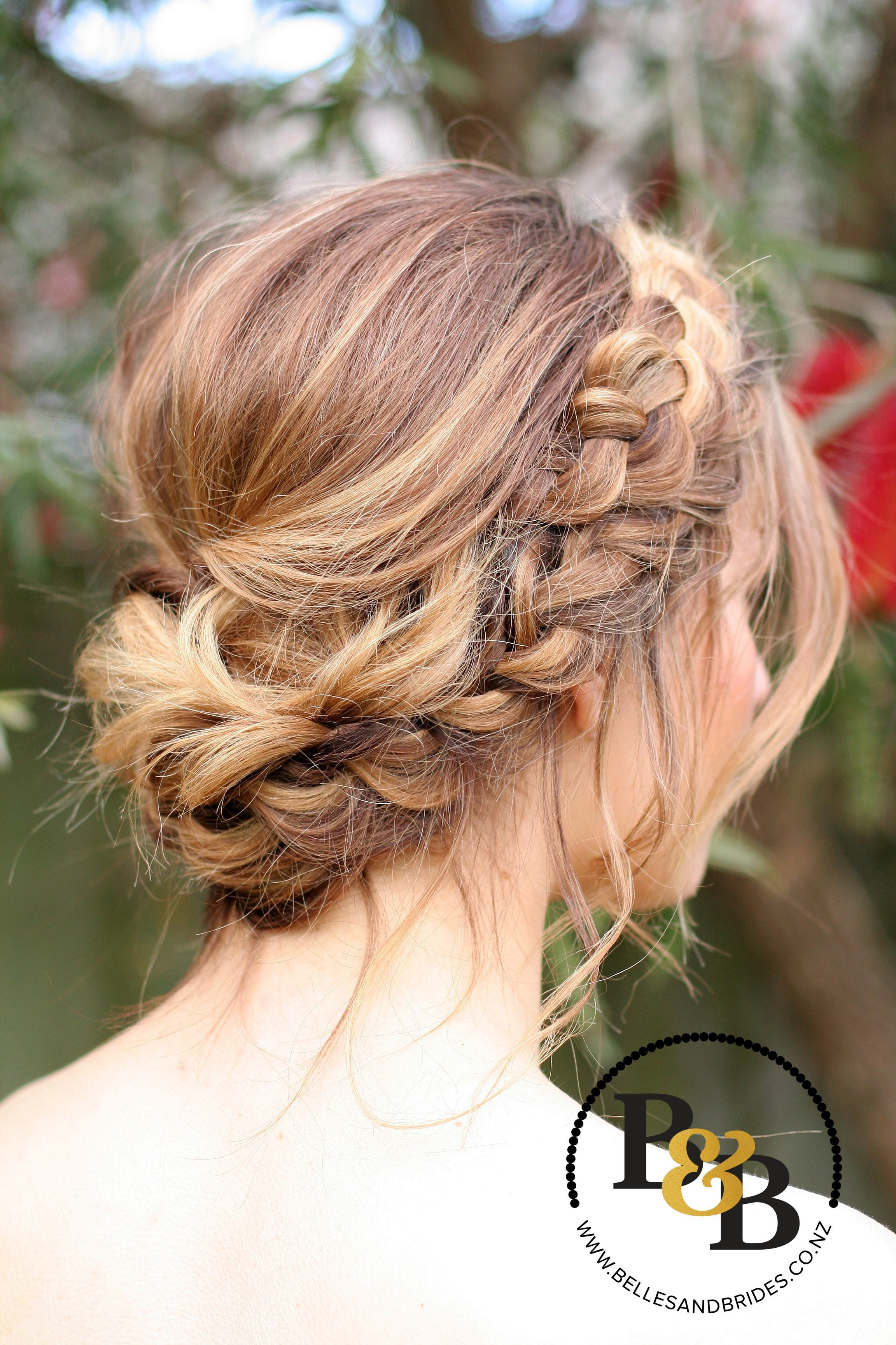 Wedding hair with braid messy bridal updo bridesmaids hair