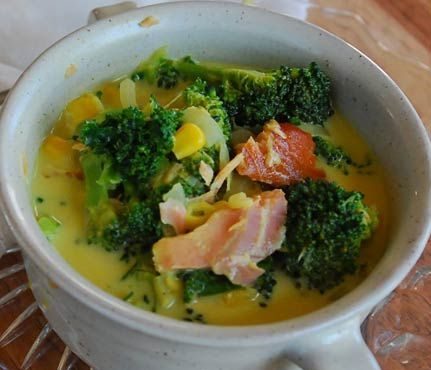 Hearty Fall Soups With Superfoods: Vegetable and Smoked Salmon Chowder. See the full recipe here! #SelfMagazine