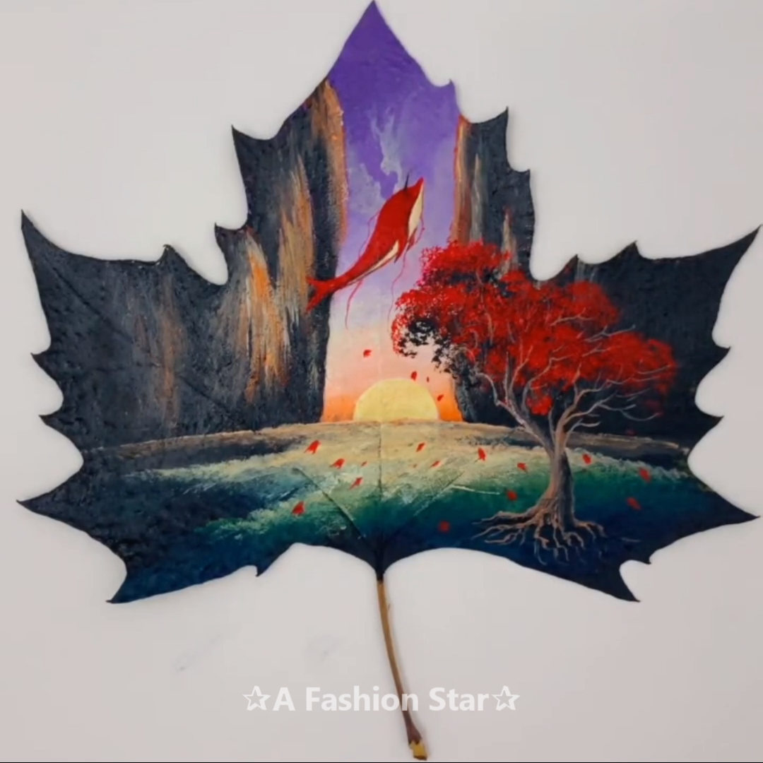 5 Best Painting On Leaves Ideas Leaf Painting Craft Video Painting Drawings Amazing Art Painting