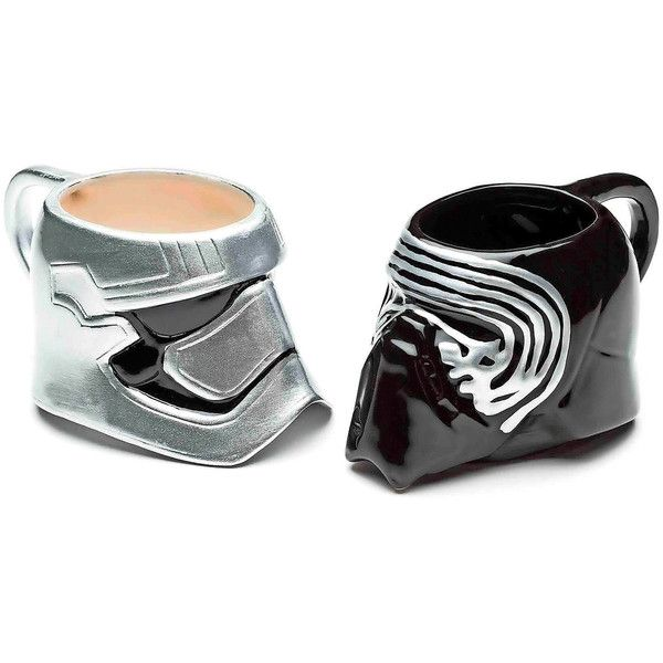 Disney Star Wars Kylo Ren and Captain Phasma Set of 2 Mugs (130 BRL) ❤ liked on Polyvore featuring home, kitchen & dining, drinkware, ceramic mug set, star wars mug set, ceramic mugs, twin pack and disney mugs