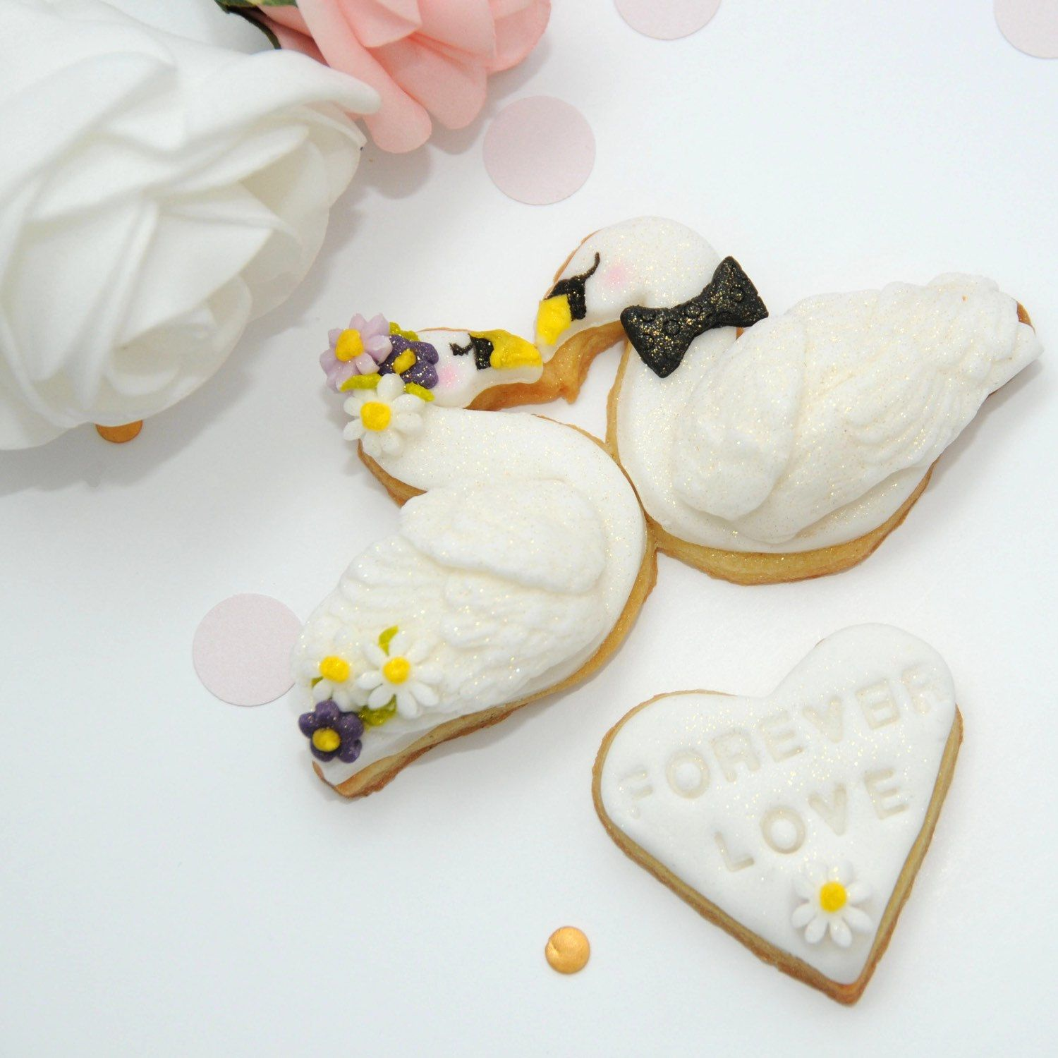 Beautiful Swan Cookies, Wedding Favour, Anniversary Gift, I Love You ...
