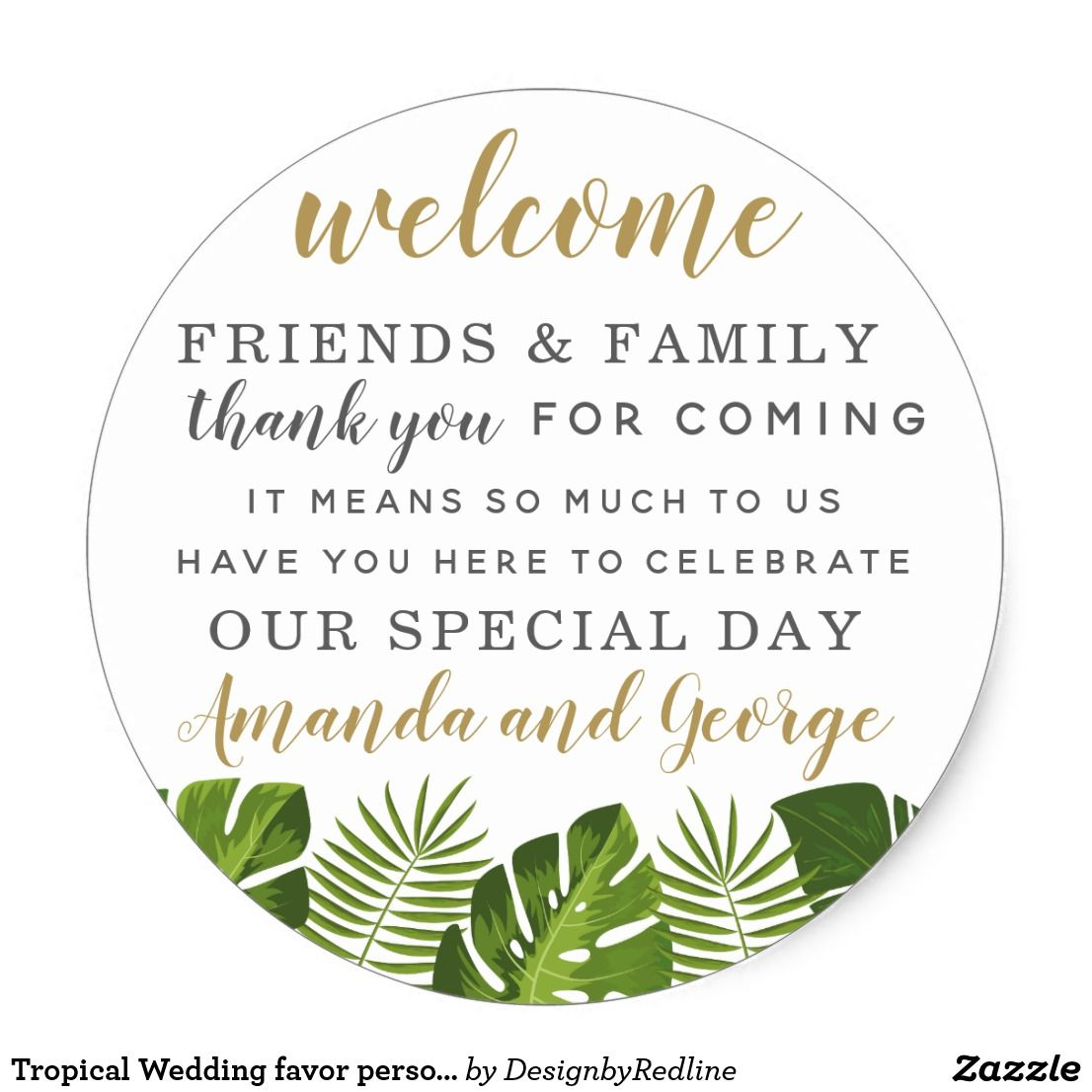 Tropical Wedding favor personalized thank you Classic Round Sticker ...