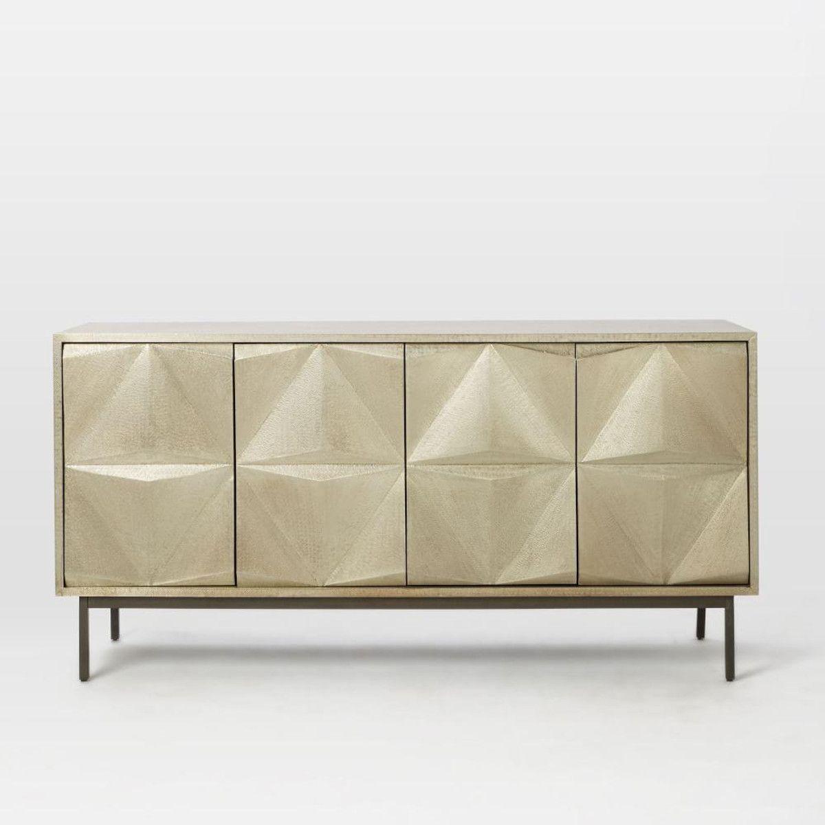 Brass Clad Sculpted Geo Sideboard Furniture Kids Dining Decor