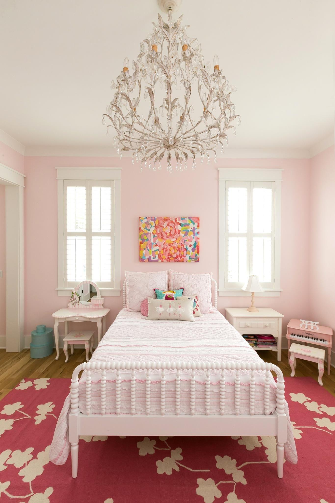 Girls Room Chandelier White Antique Bed Dark Pink Rug Pale Pink