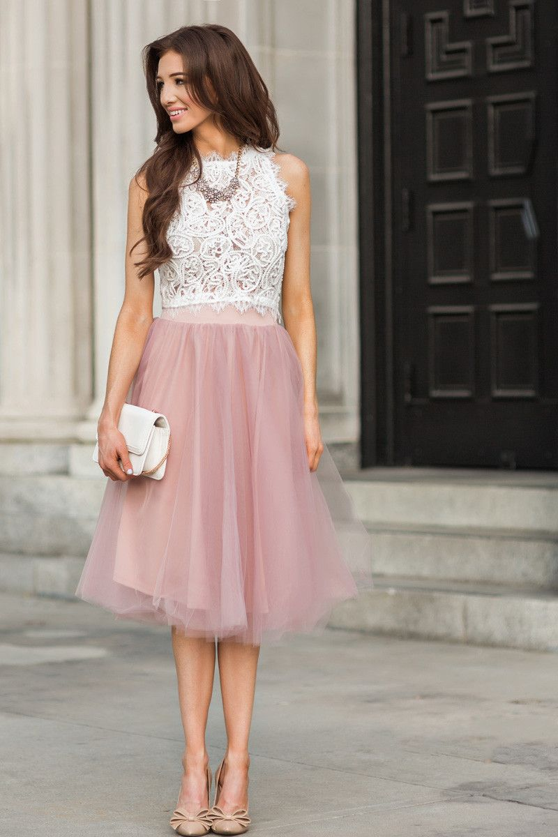 Jacqueline Dusty Rose Tulle Midi Skirt | Skirts, White lace crop ...