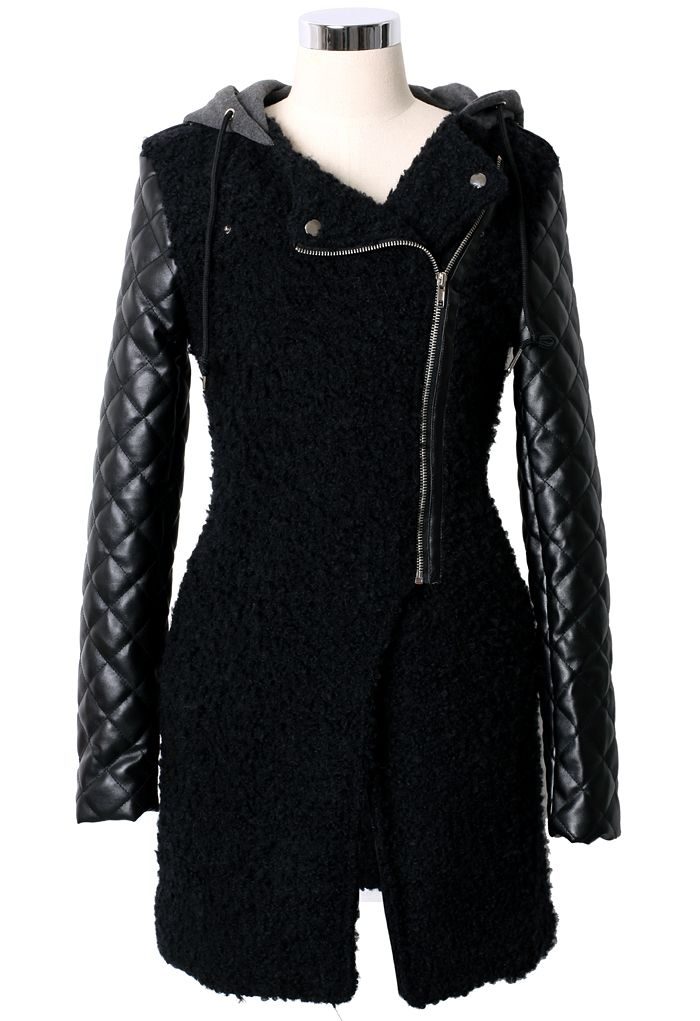 Faux Leather Tweed Quilt Sleeve Hooded Coat | window shopping ...