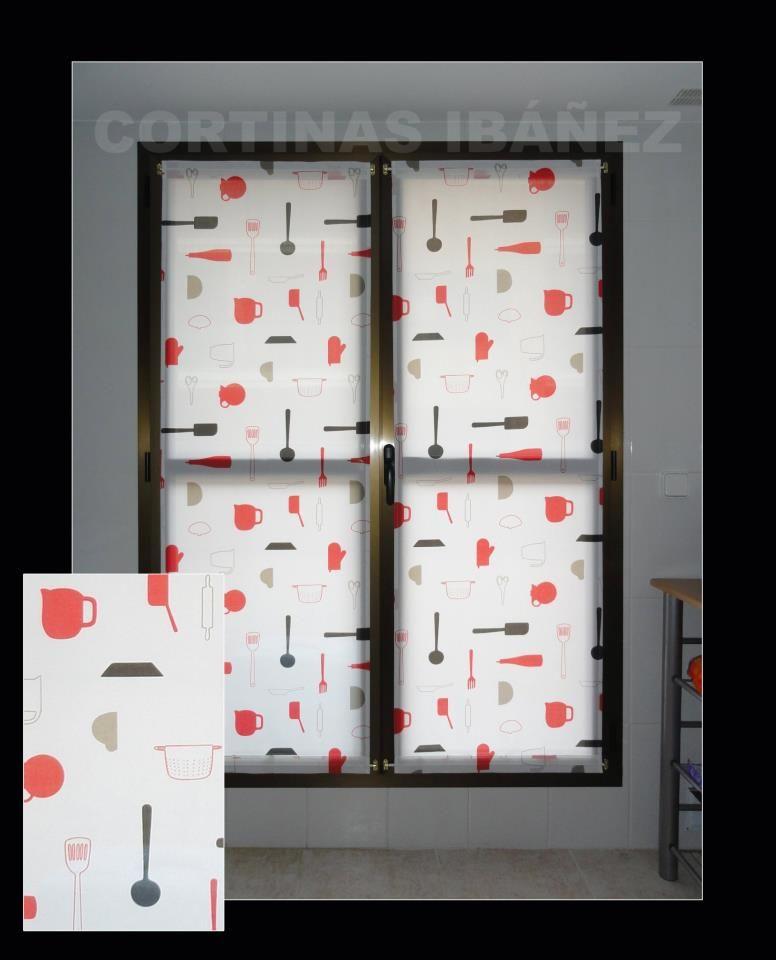 Cortinas cocina en loneta estampada 50 50 alg pol for Cortinas para puertas de cocina