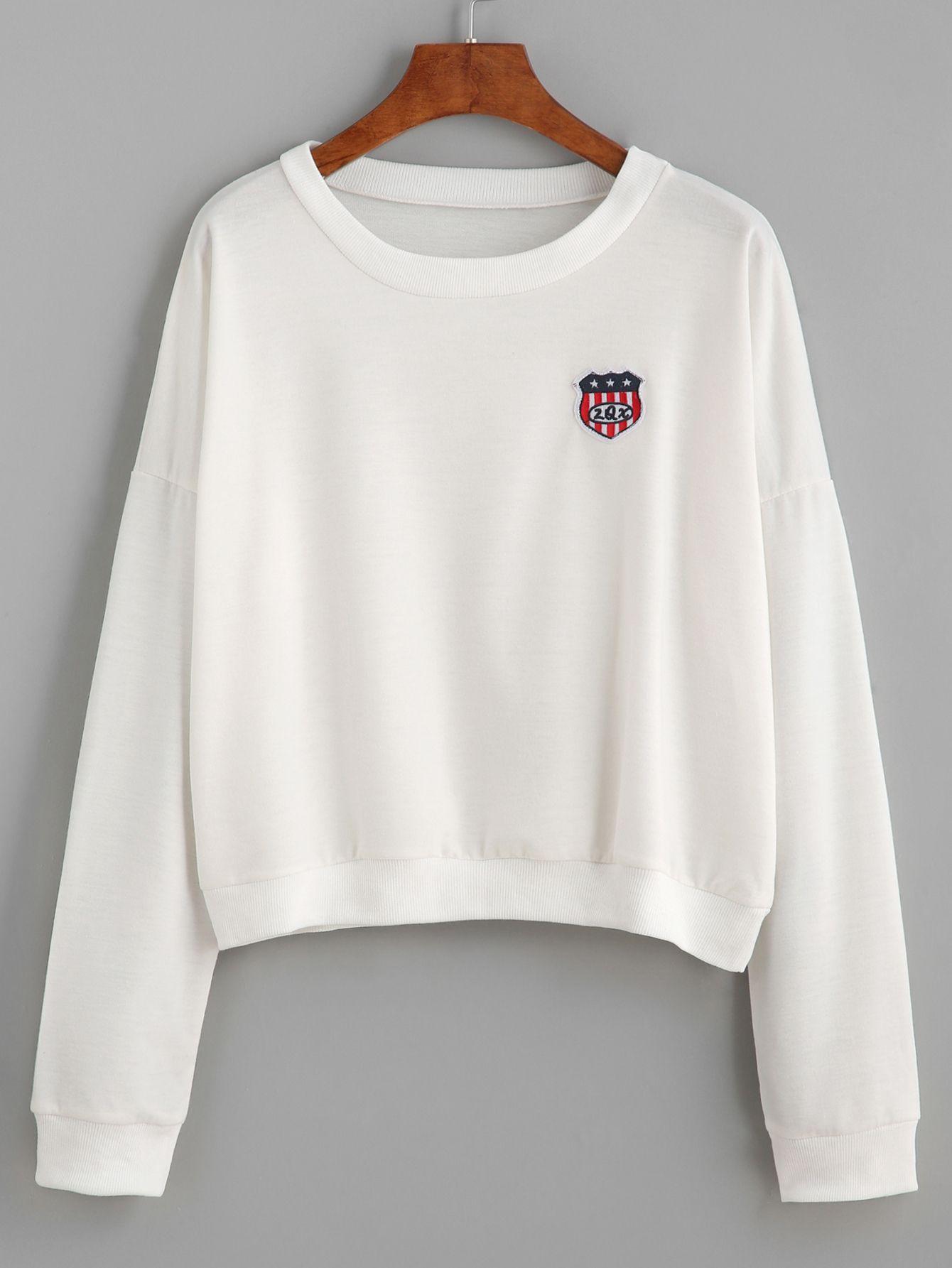 White Drop Shoulder Patch Sweatshirt — 0.00 € -------------------color: White size: one-size
