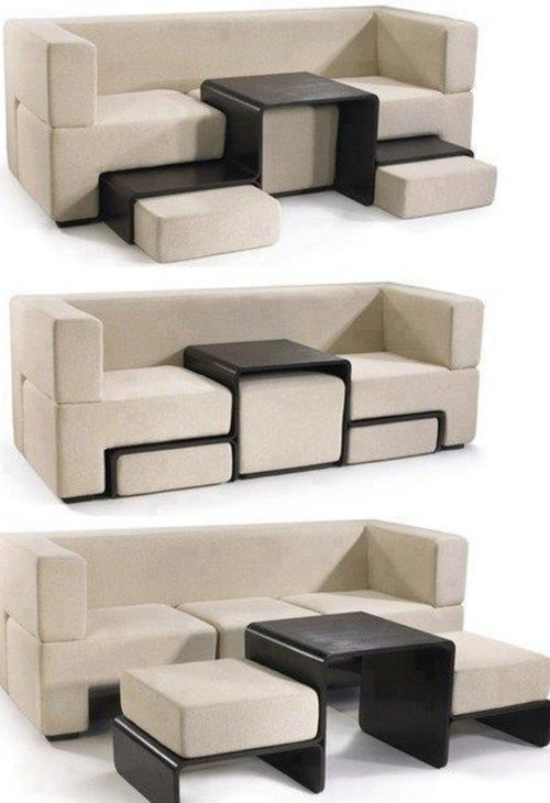 Multi function couch.  I would modify it so that the back/side of the couch section flipped over and it turned into a bed as well.