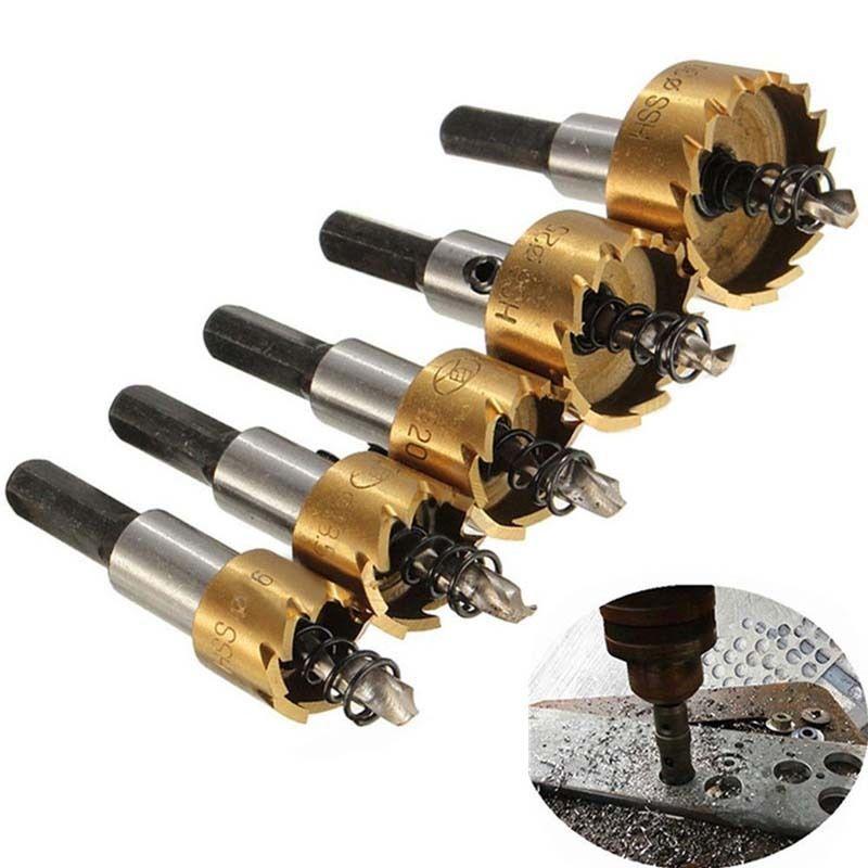 5pcs 16 30mm Hole Saw Cutter Drill Bit Set Hss Hole Saw Drill Sheet Metal Reamer Affiliate Drill Bits Drilling Holes Drill