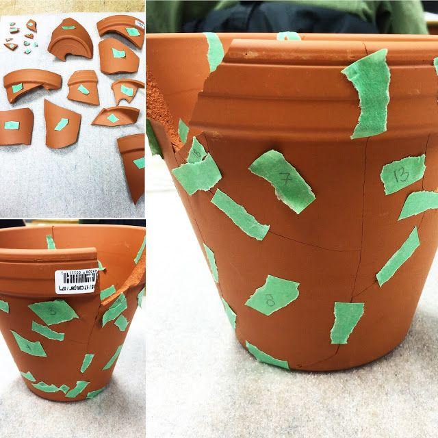 Treating a broken terracotta pot