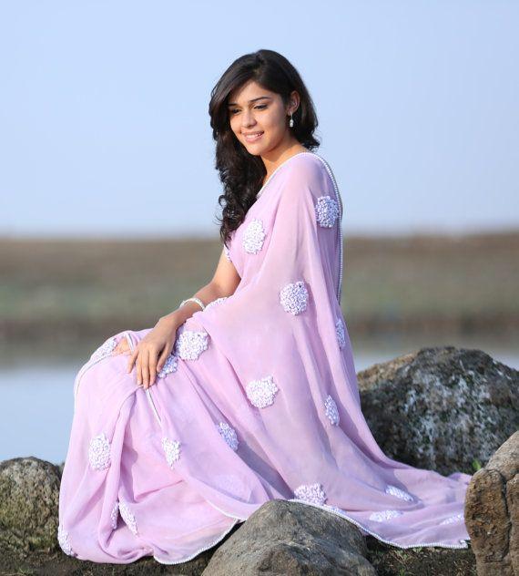 dc606f3971 Lilac Pure Silk Georgette Ribbon-Work Saree, Beautiful Saree, Elegant saree,  Lavender, Ribbon embroidery, Pearls, Pastel, Pink, Purple