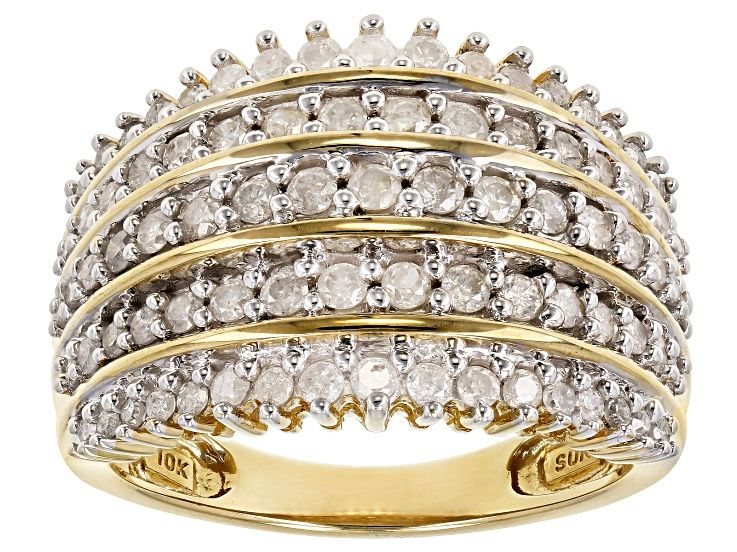 Pre Owned White Diamond 10k Yellow Gold Ring 1 00ctw Prc2419 In 2020 Yellow Gold Rings Gold Rings Wide Band Rings