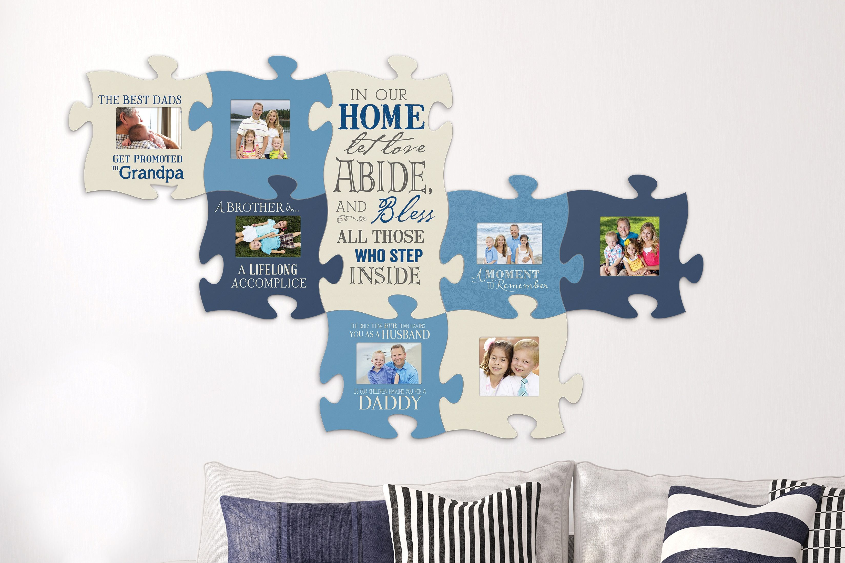 Puzzle Piece Your Family And Friends Together With This Wall Art There S Room For Everyone Plus Integrate Inspi Family Wall Decor Puzzle Pieces Family Wall
