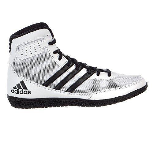 adidas schuhe, weiße matte zauberer ringen / schwarze adidas - größe.
