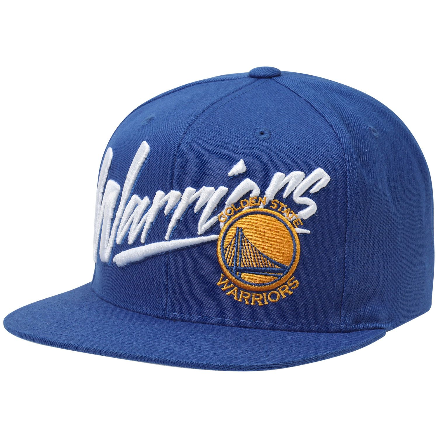 6f1c13daeb39b Men s Golden State Warriors Mitchell   Ness Royal Vice Script Solid  Snapback Hat