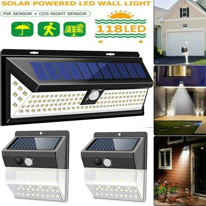 118 Led Solar Powered Pir Motion Sensor Light Outdoor Garden
