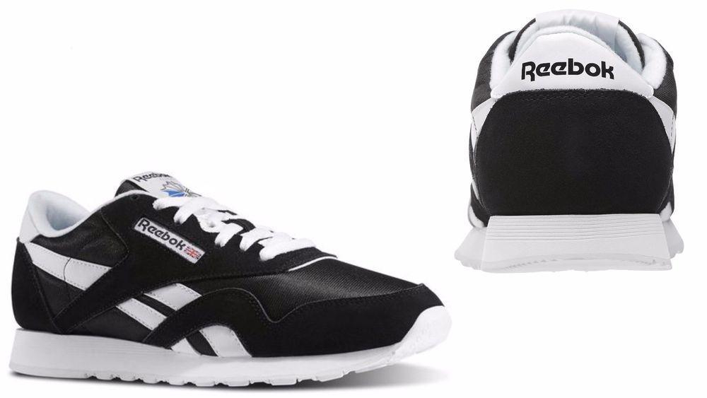 72bf14ba45aff Men s Reebok CLASSIC NYLON Casual Sneaker BLACK white 6604  Reebok  6604