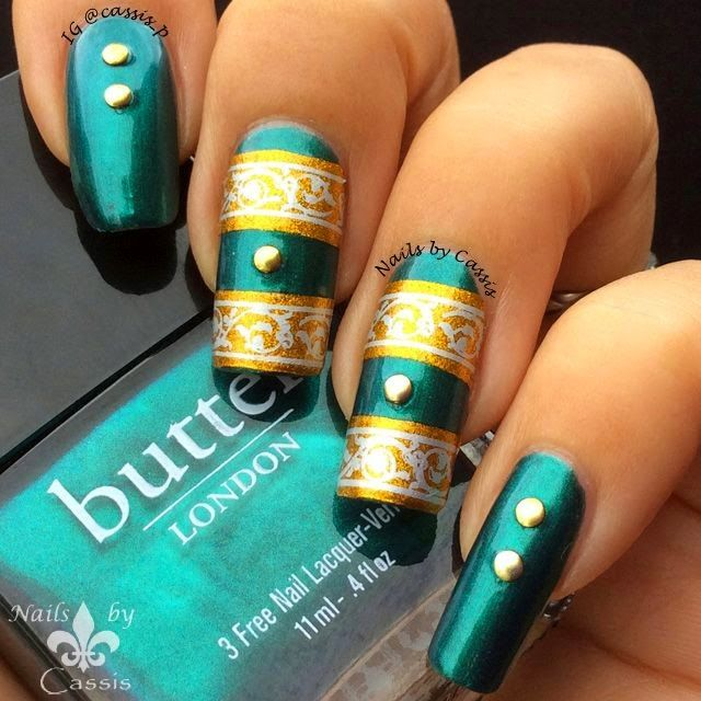 Nails by Cassis: Gold x Silver Strip Stamping Mani #nails #nailart #nailstamping #bornprettystore