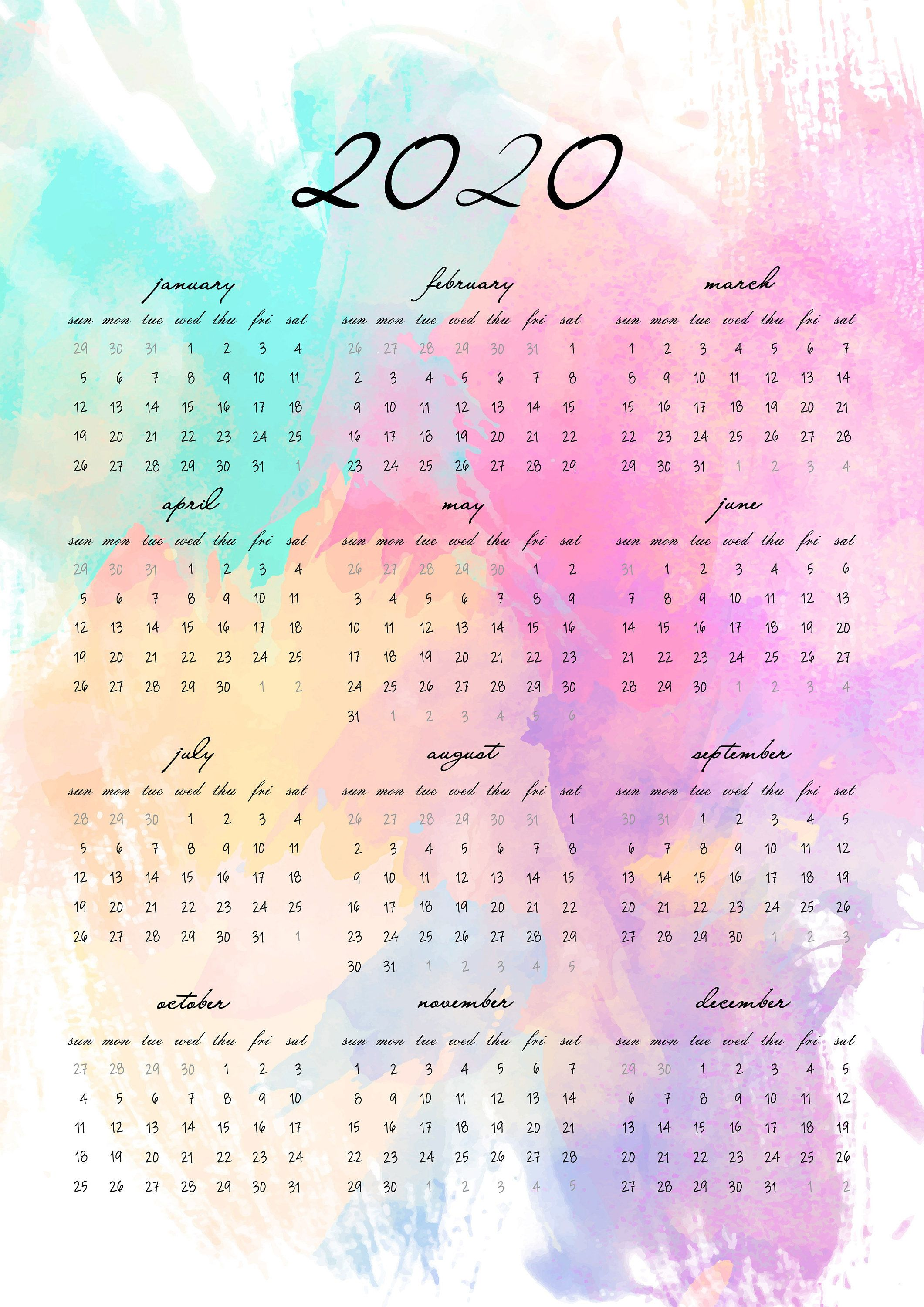 Watercolor Art 2020 Calendar Calendar 2020 Printable