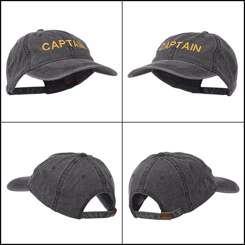 42aac63fd58 Captain Embroidered Low Profile Washed Cap Cotton Black Christmas Gift for  Men  E4hats