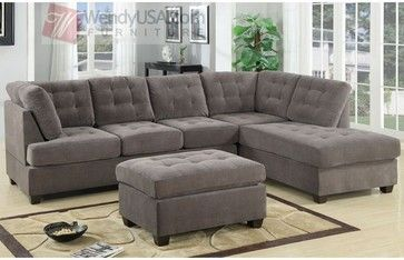 Waffle Suede Charcoal 2 Pieces Sectional Sofa With Reversible Chaise Contemporary Sofas