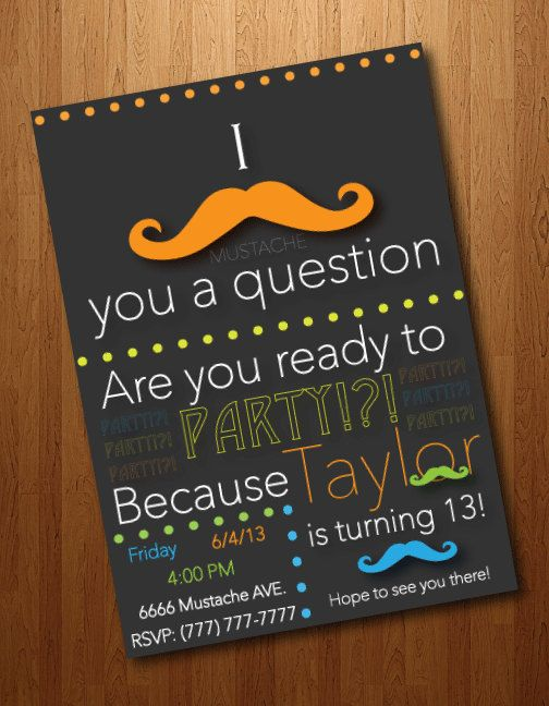 Custom Mustache Party Invitation by GettingGraphic on Etsy, $10.00